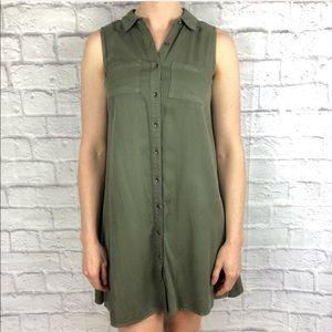🍃 NWT Olive Sleeveless Button Down Shirt Dress